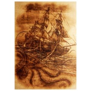 """Выжженная картина """"Корабль и Кракен"""""""