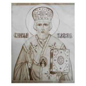 """Выжженная икона """"Николай Чудотворец"""""""