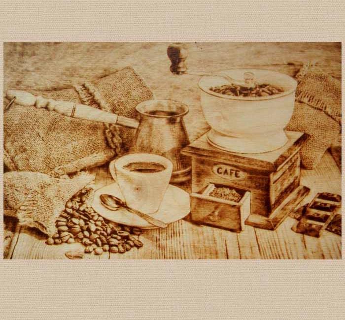 Картина выжженная на дереве для кофейни или кухни